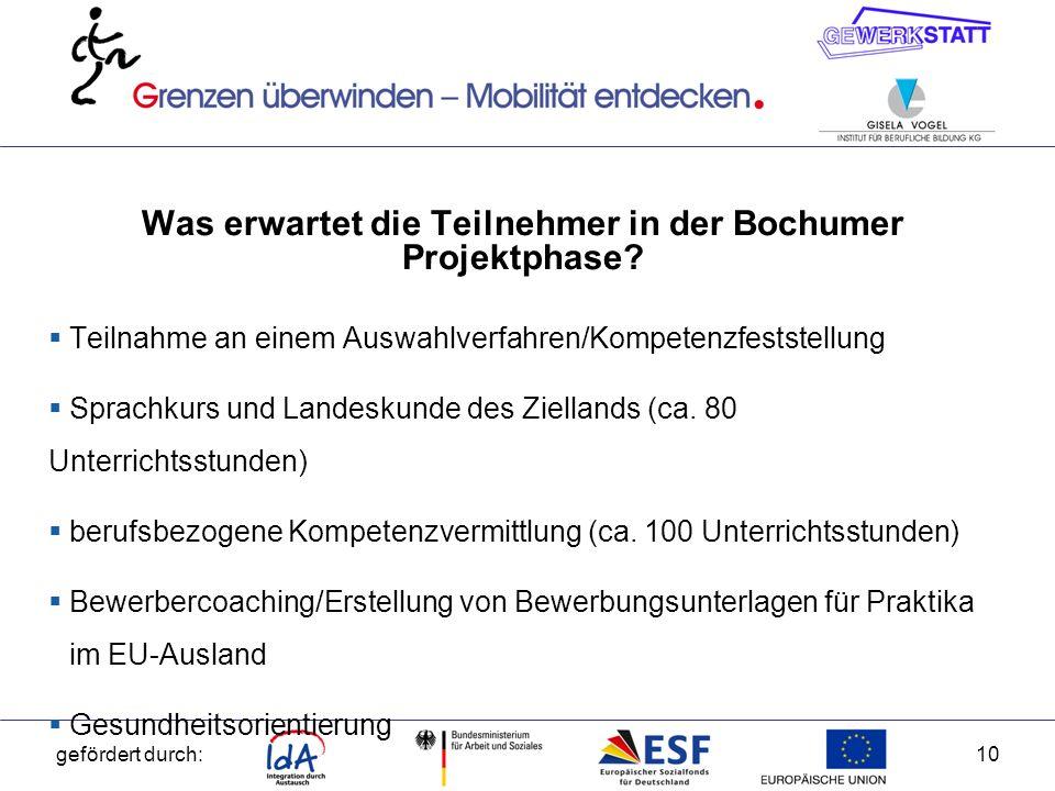 Was erwartet die Teilnehmer in der Bochumer Projektphase