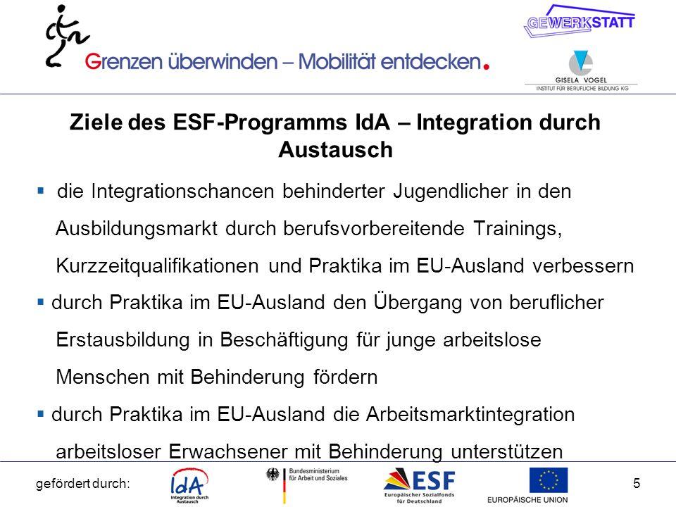 Ziele des ESF-Programms IdA – Integration durch Austausch