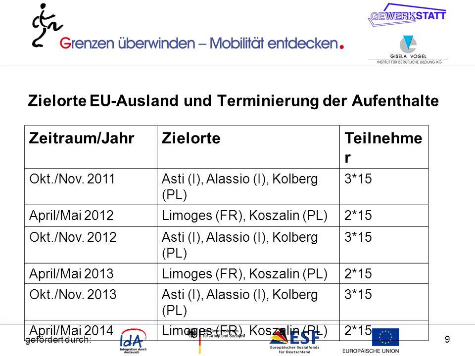 Zielorte EU-Ausland und Terminierung der Aufenthalte