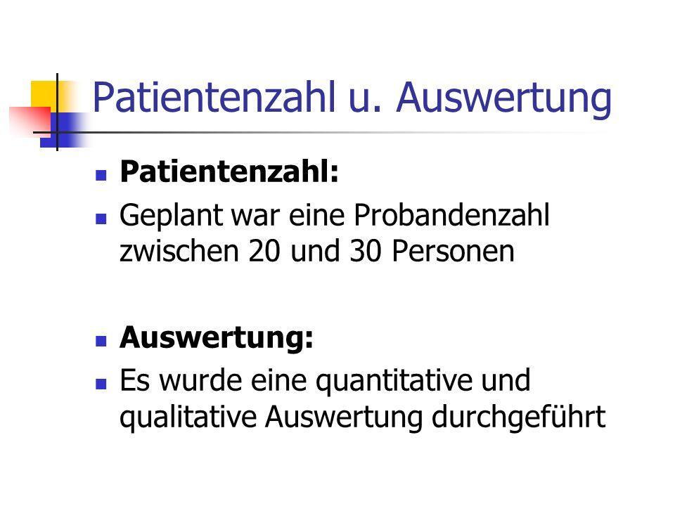Patientenzahl u. Auswertung