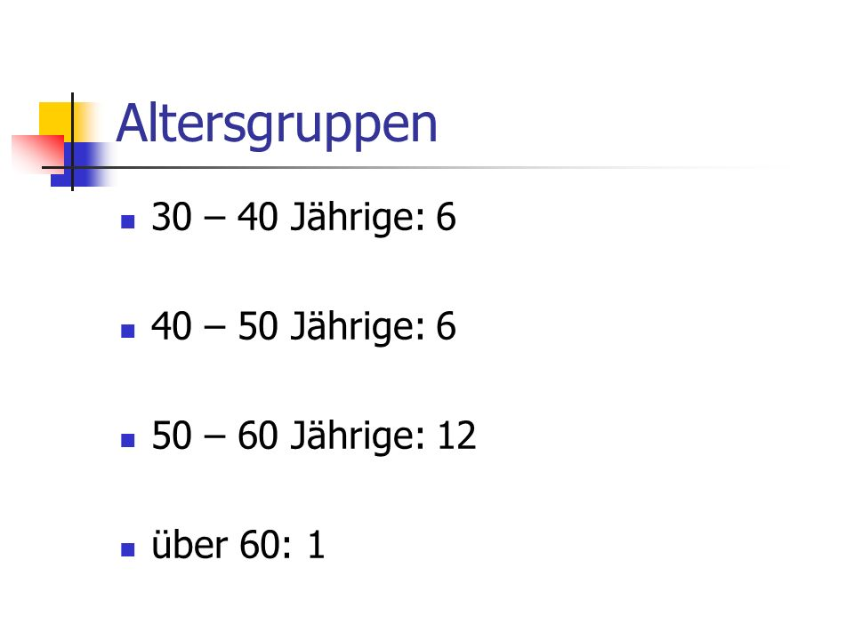 Altersgruppen 30 – 40 Jährige: 6 40 – 50 Jährige: 6
