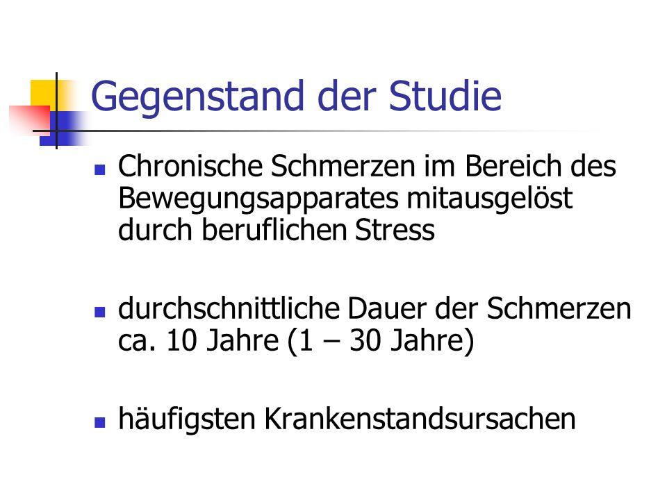 Gegenstand der Studie Chronische Schmerzen im Bereich des Bewegungsapparates mitausgelöst durch beruflichen Stress.