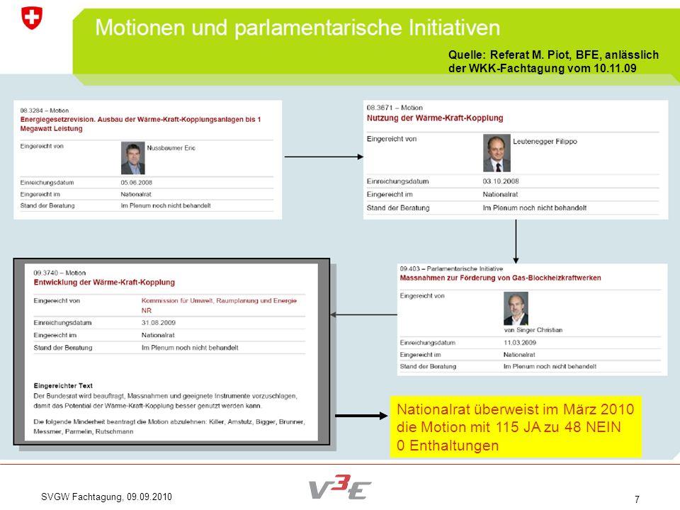 Nationalrat überweist im März 2010 die Motion mit 115 JA zu 48 NEIN