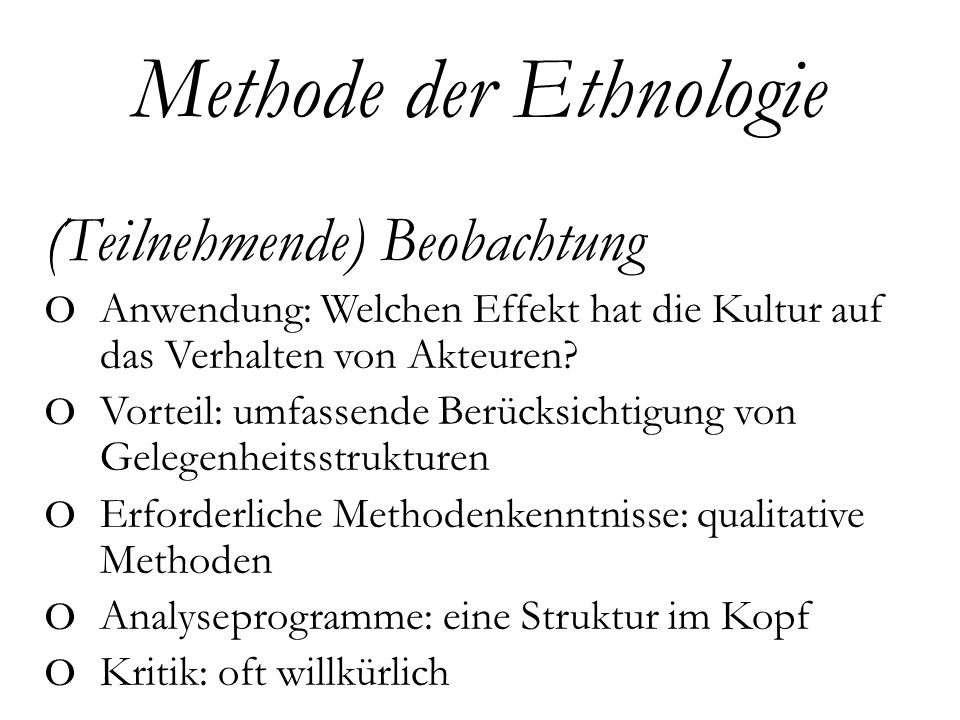 Methode der Ethnologie