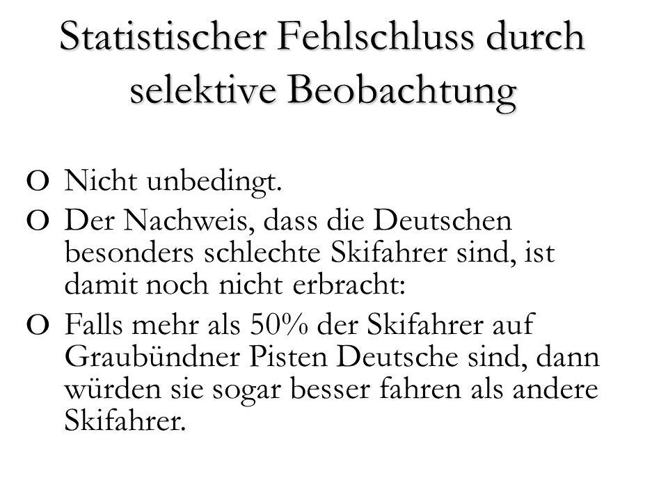 Statistischer Fehlschluss durch selektive Beobachtung