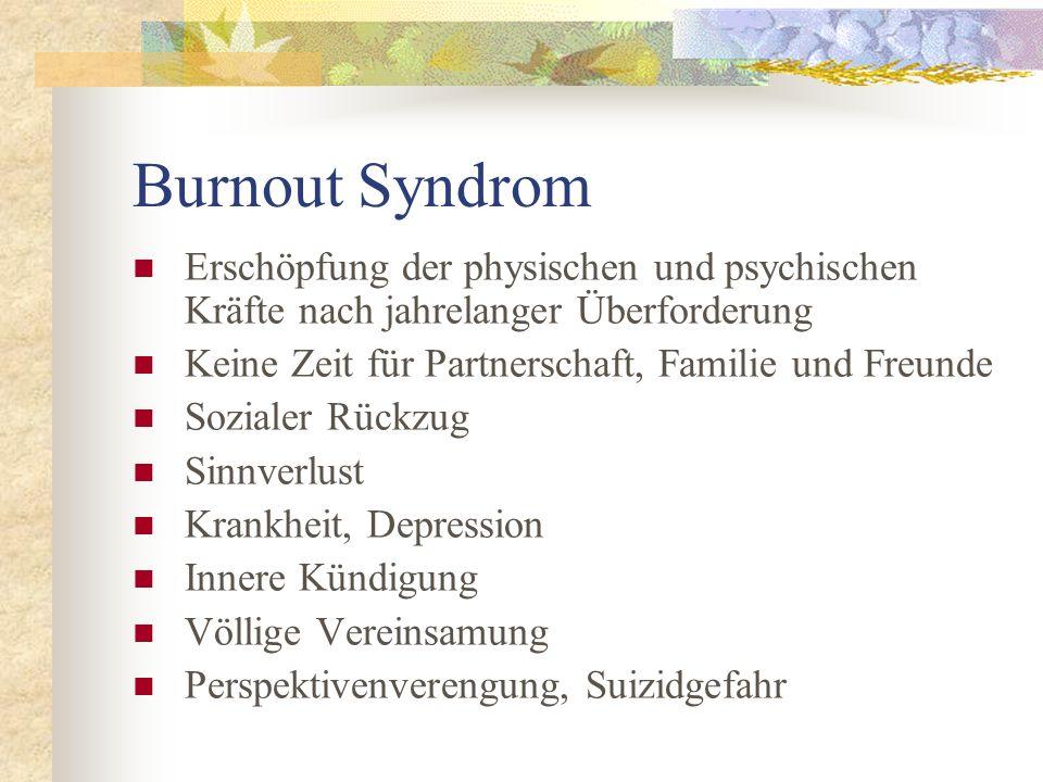 Burnout Syndrom Erschöpfung der physischen und psychischen Kräfte nach jahrelanger Überforderung. Keine Zeit für Partnerschaft, Familie und Freunde.