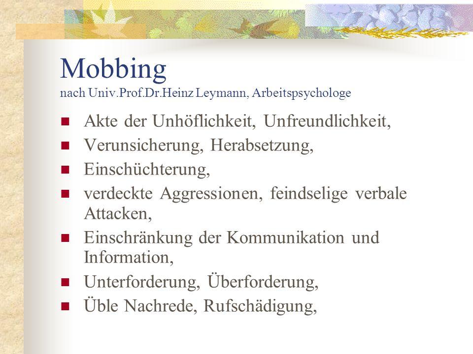 Mobbing nach Univ.Prof.Dr.Heinz Leymann, Arbeitspsychologe