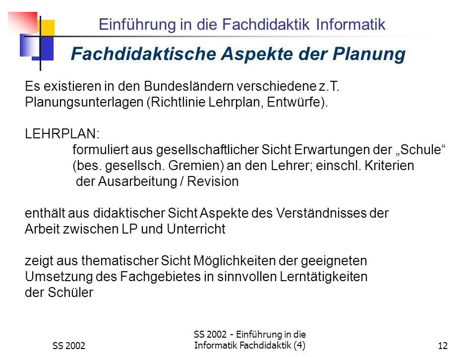 Fachdidaktische Aspekte der Planung