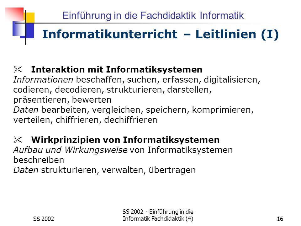 Informatikunterricht – Leitlinien (I)