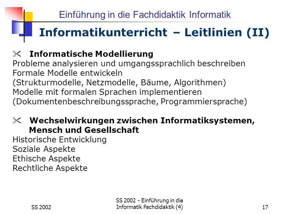 Informatikunterricht – Leitlinien (II)