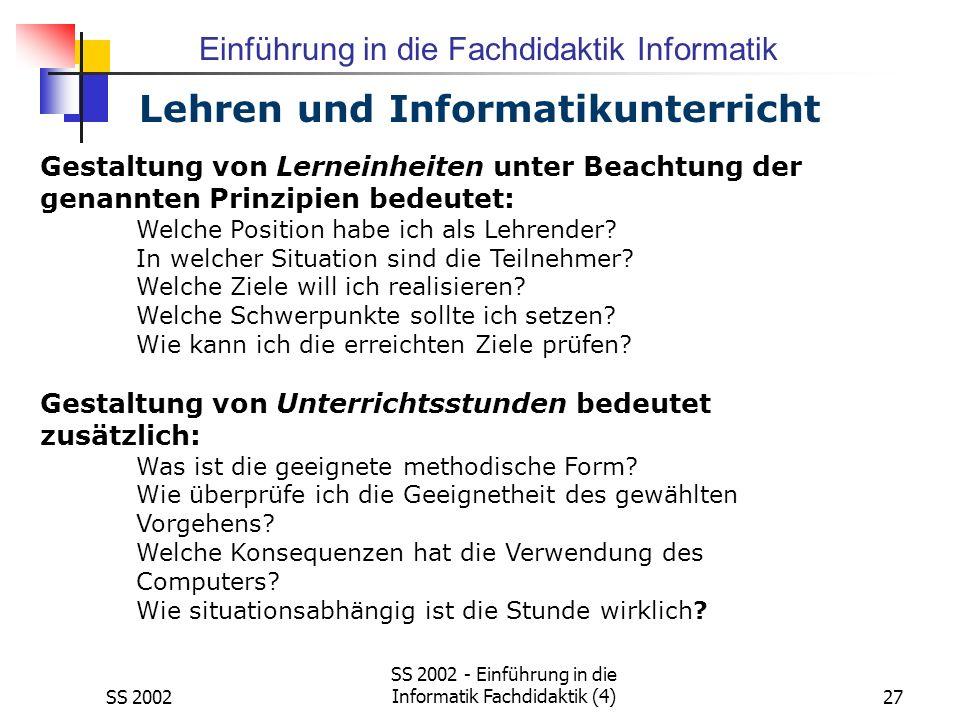 Lehren und Informatikunterricht