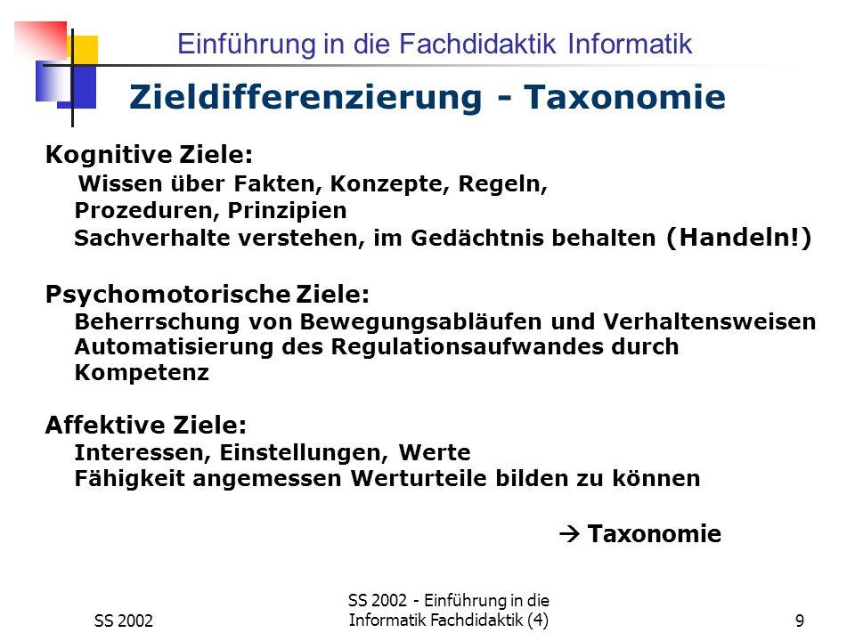 Zieldifferenzierung - Taxonomie