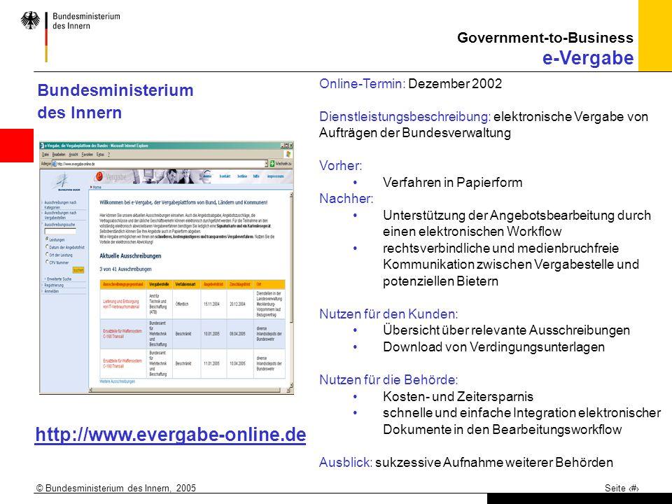 http://www.evergabe-online.de Bundesministerium des Innern