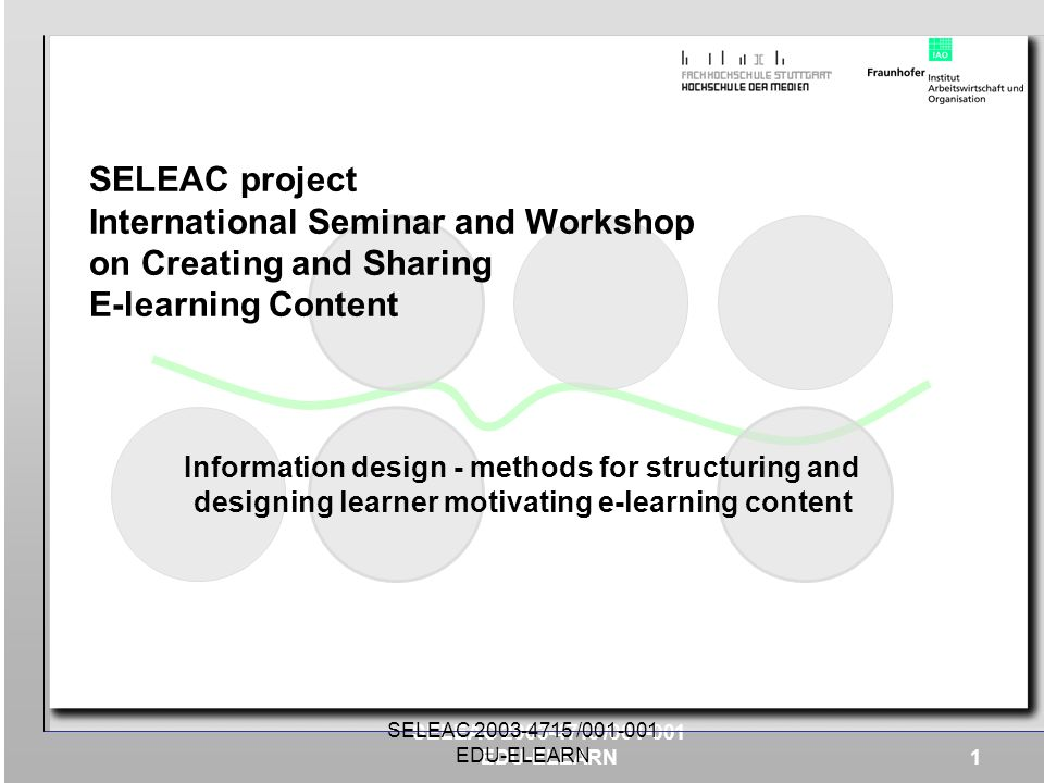 SELEAC project International Seminar and Workshop on Creating and Sharing E-learning Content
