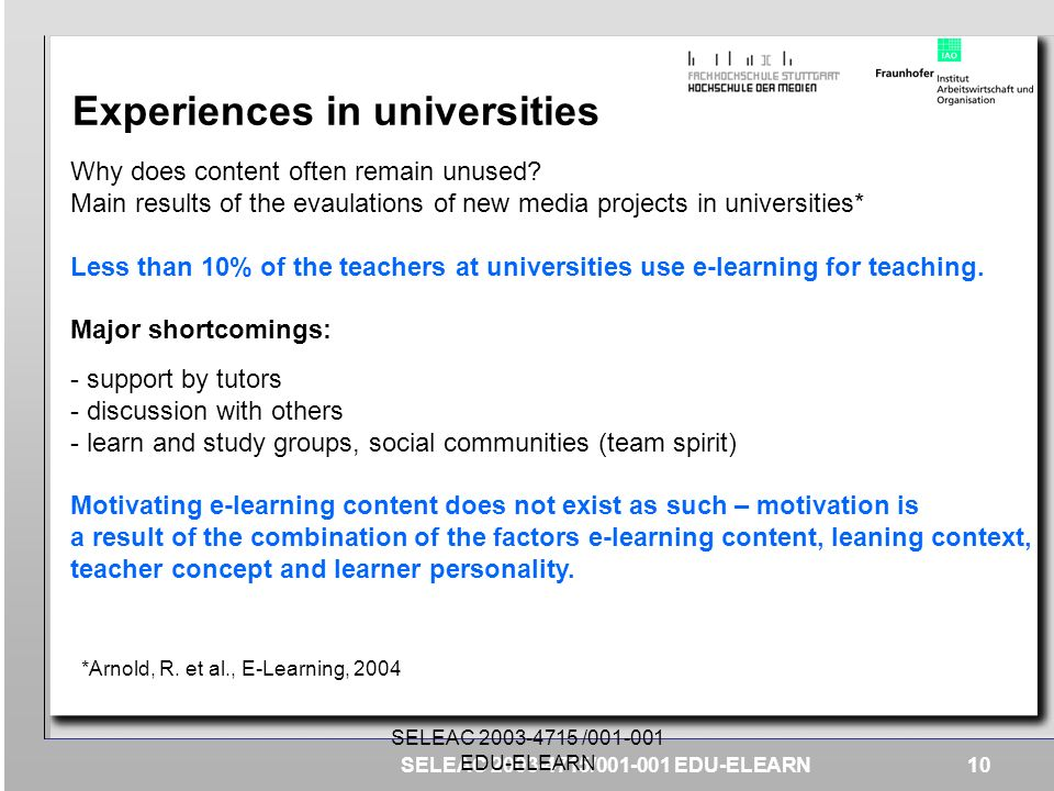 Experiences in universities