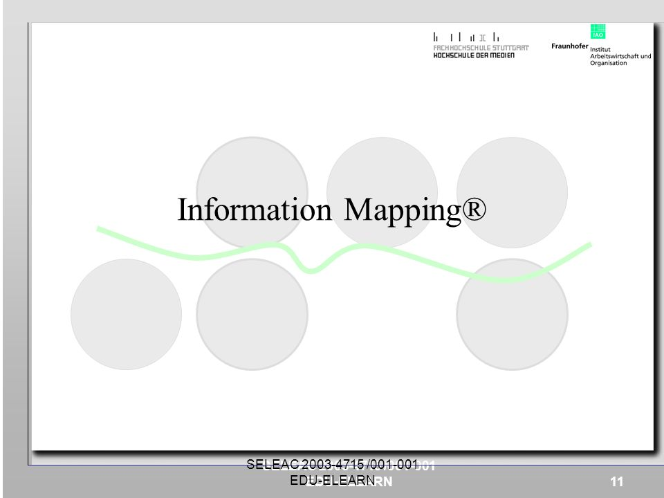 Information Mapping® SELEAC 2003-4715 /001-001 EDU-ELEARN