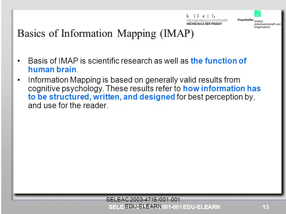 Basics of Information Mapping (IMAP)