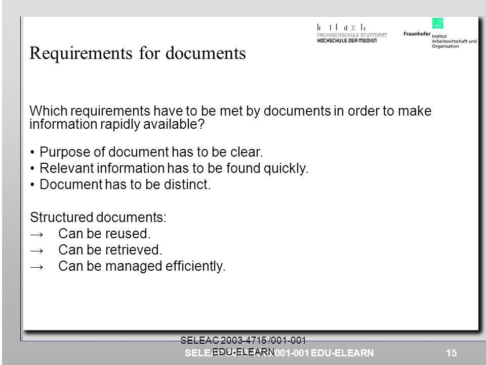 Requirements for documents