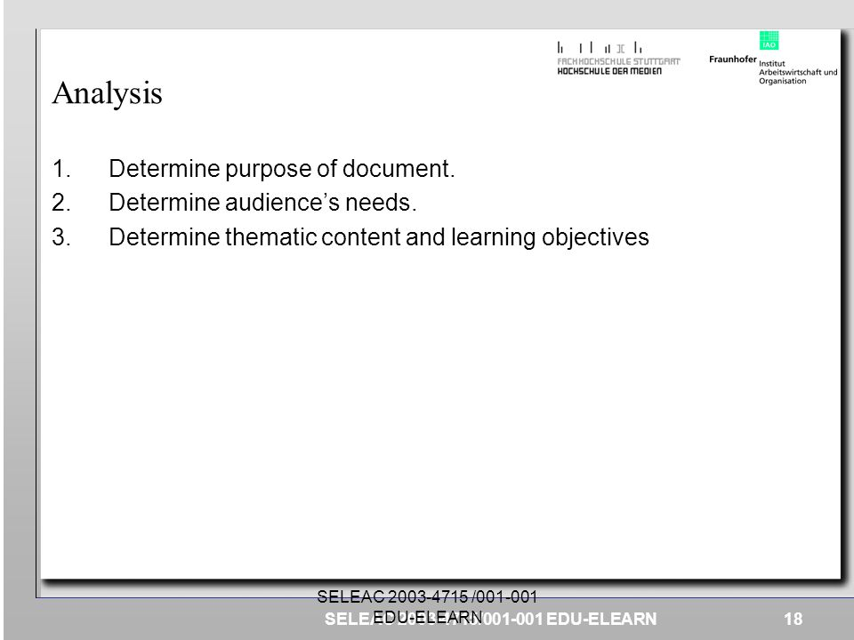 Analysis Determine purpose of document. Determine audience's needs.