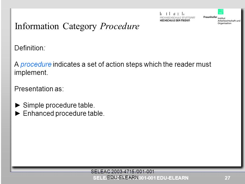 Information Category Procedure