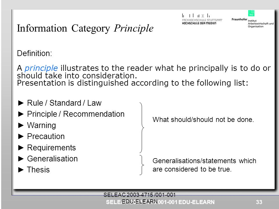 Information Category Principle