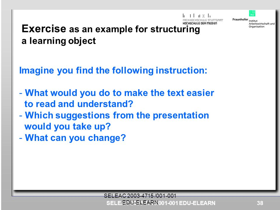 Exercise as an example for structuring a learning object