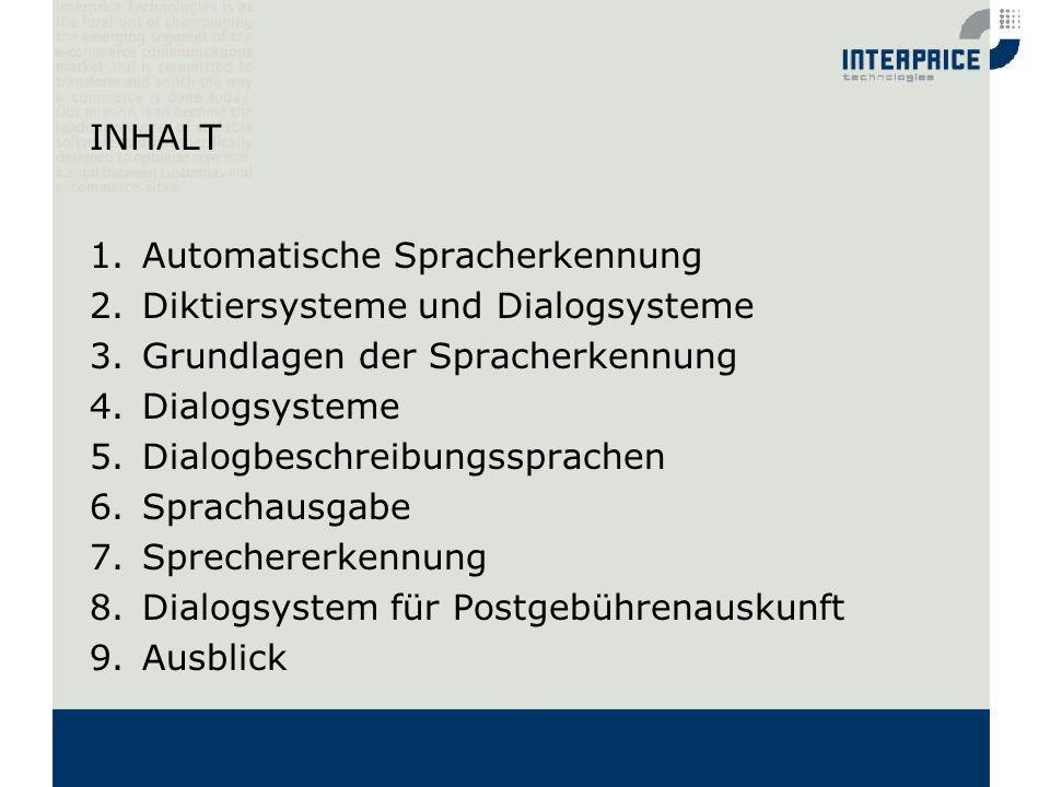 INHALT Automatische Spracherkennung. Diktiersysteme und Dialogsysteme. Grundlagen der Spracherkennung.