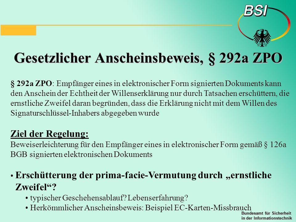 Gesetzlicher Anscheinsbeweis, § 292a ZPO