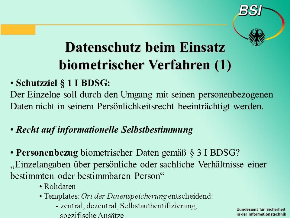 Datenschutz beim Einsatz biometrischer Verfahren (1)