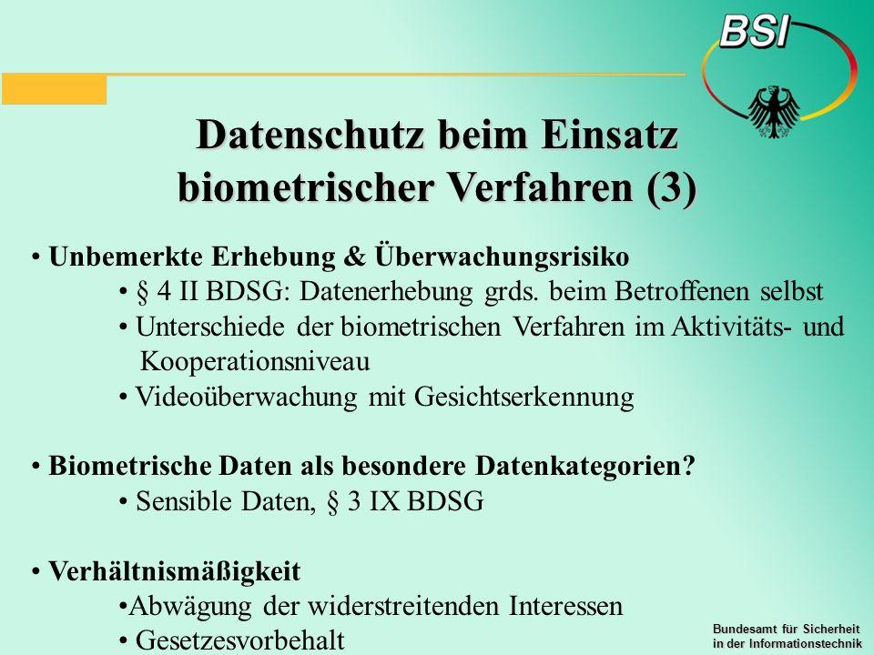 Datenschutz beim Einsatz biometrischer Verfahren (3)