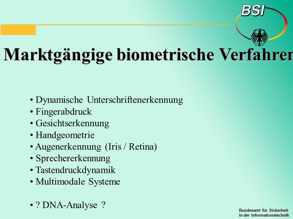 Marktgängige biometrische Verfahren