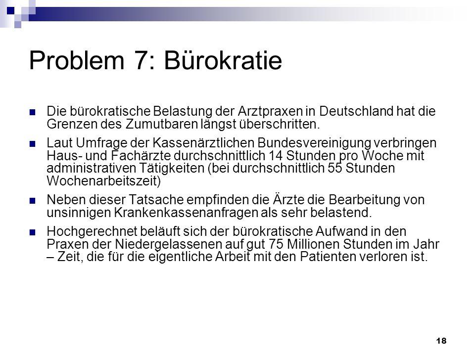 Problem 7: BürokratieDie bürokratische Belastung der Arztpraxen in Deutschland hat die Grenzen des Zumutbaren längst überschritten.