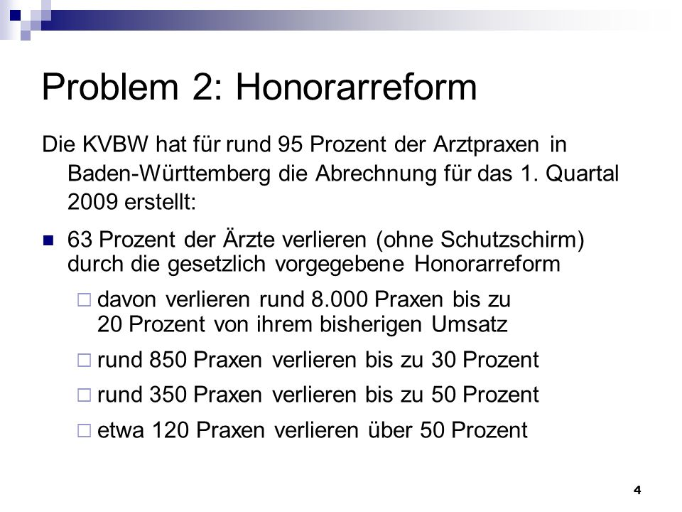 Problem 2: Honorarreform