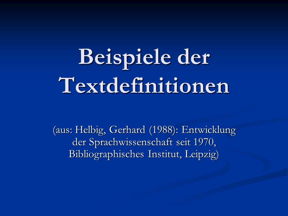 Beispiele der Textdefinitionen