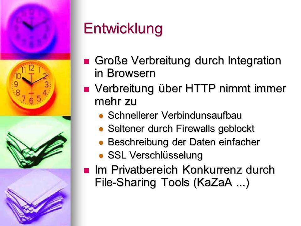 Entwicklung Große Verbreitung durch Integration in Browsern