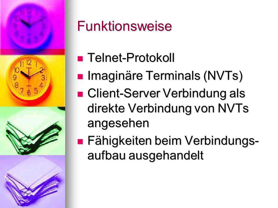 Funktionsweise Telnet-Protokoll Imaginäre Terminals (NVTs)