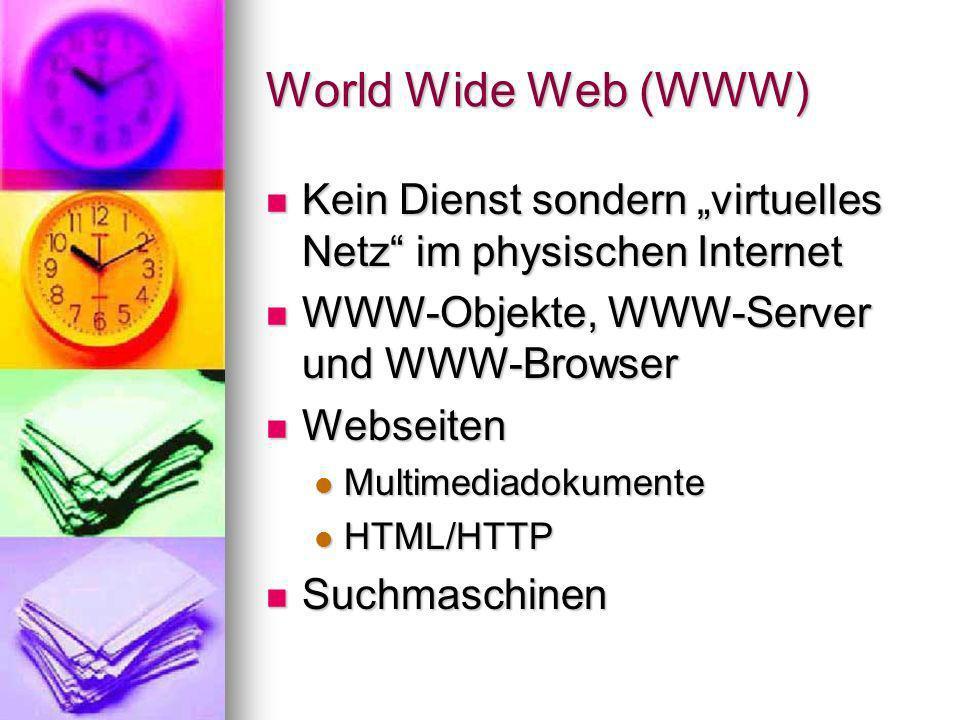 """World Wide Web (WWW) Kein Dienst sondern """"virtuelles Netz im physischen Internet. WWW-Objekte, WWW-Server und WWW-Browser."""