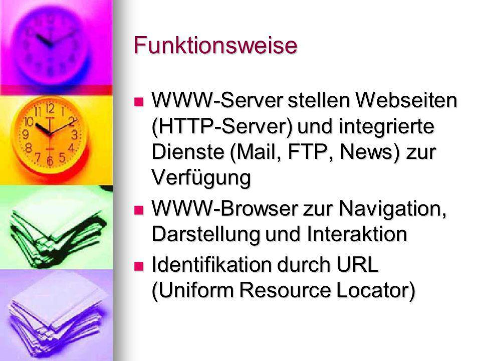 Funktionsweise WWW-Server stellen Webseiten (HTTP-Server) und integrierte Dienste (Mail, FTP, News) zur Verfügung.