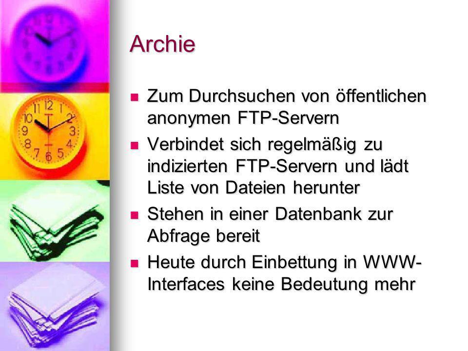 Archie Zum Durchsuchen von öffentlichen anonymen FTP-Servern