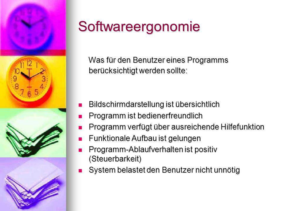 Softwareergonomie Was für den Benutzer eines Programms berücksichtigt werden sollte: Bildschirmdarstellung ist übersichtlich.