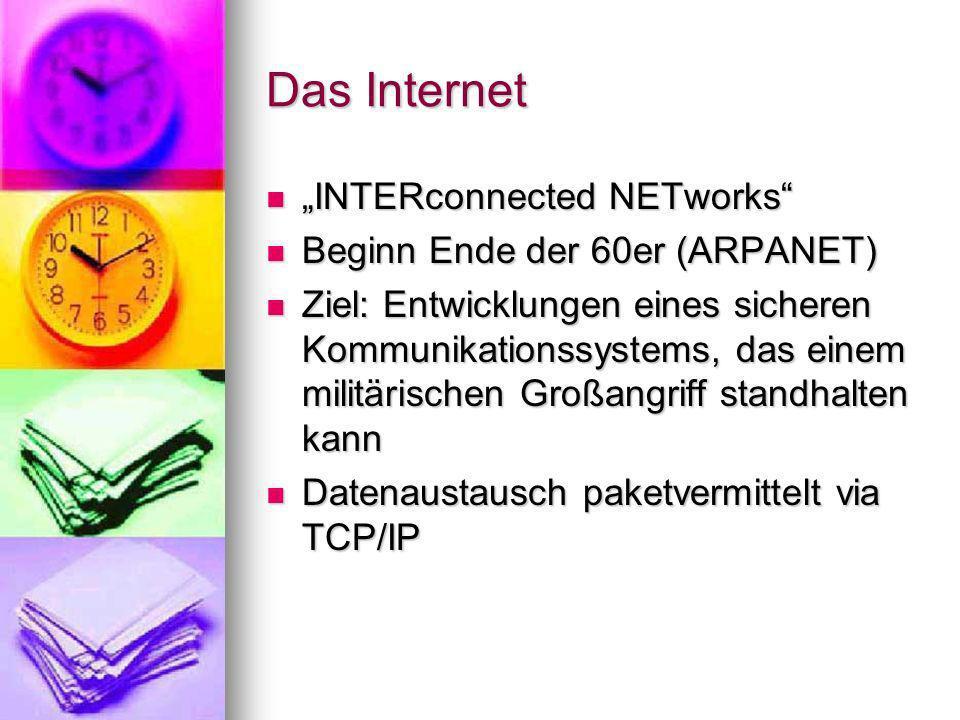 "Das Internet ""INTERconnected NETworks Beginn Ende der 60er (ARPANET)"