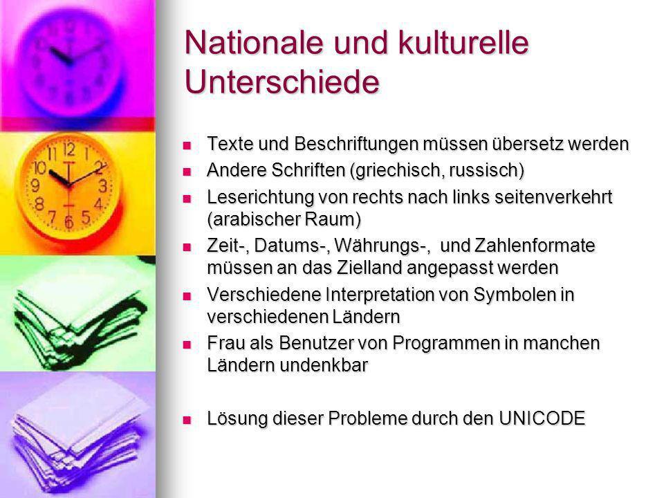 Nationale und kulturelle Unterschiede