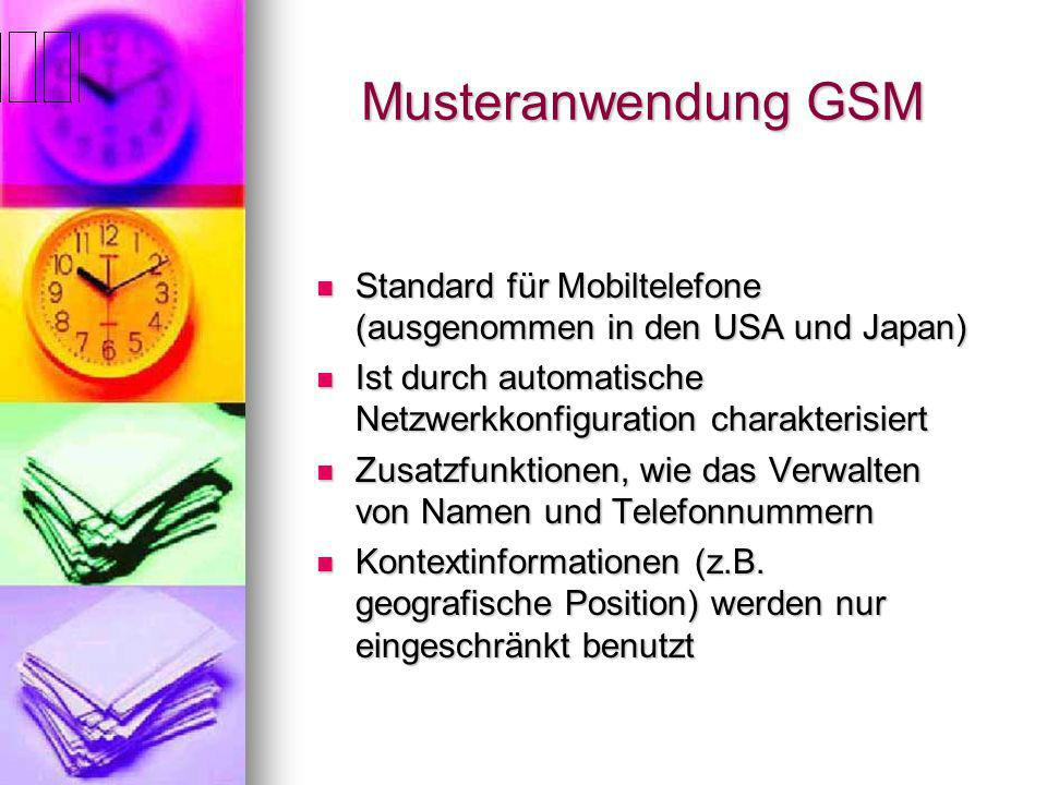 Musteranwendung GSM. Standard für Mobiltelefone (ausgenommen in den USA und Japan)