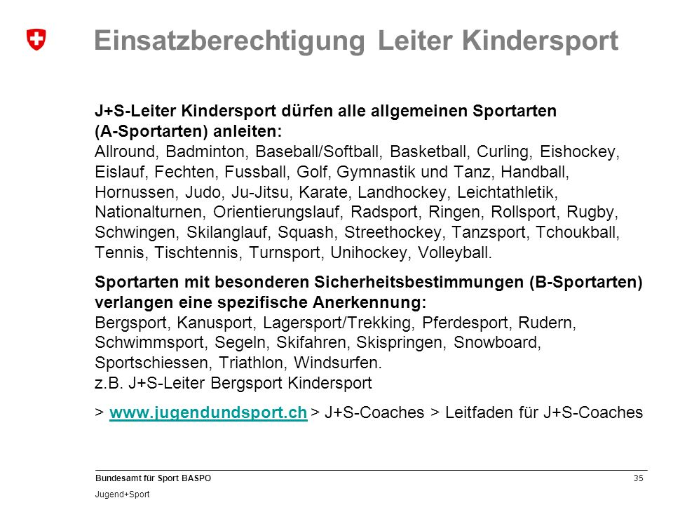 Einsatzberechtigung Leiter Kindersport