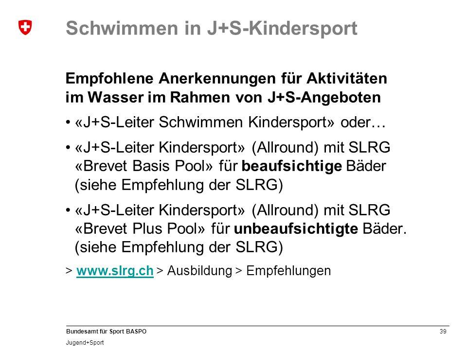 Schwimmen in J+S-Kindersport