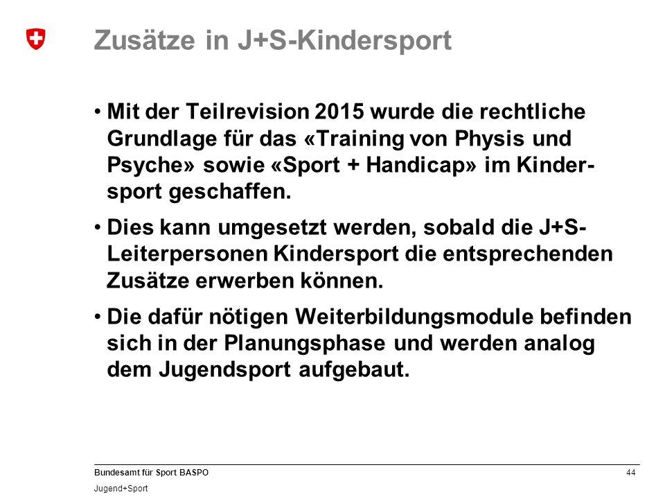 Zusätze in J+S-Kindersport