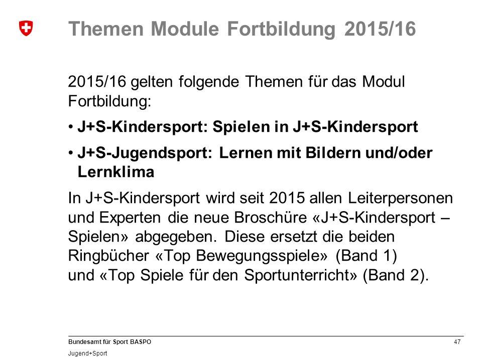 Themen Module Fortbildung 2015/16