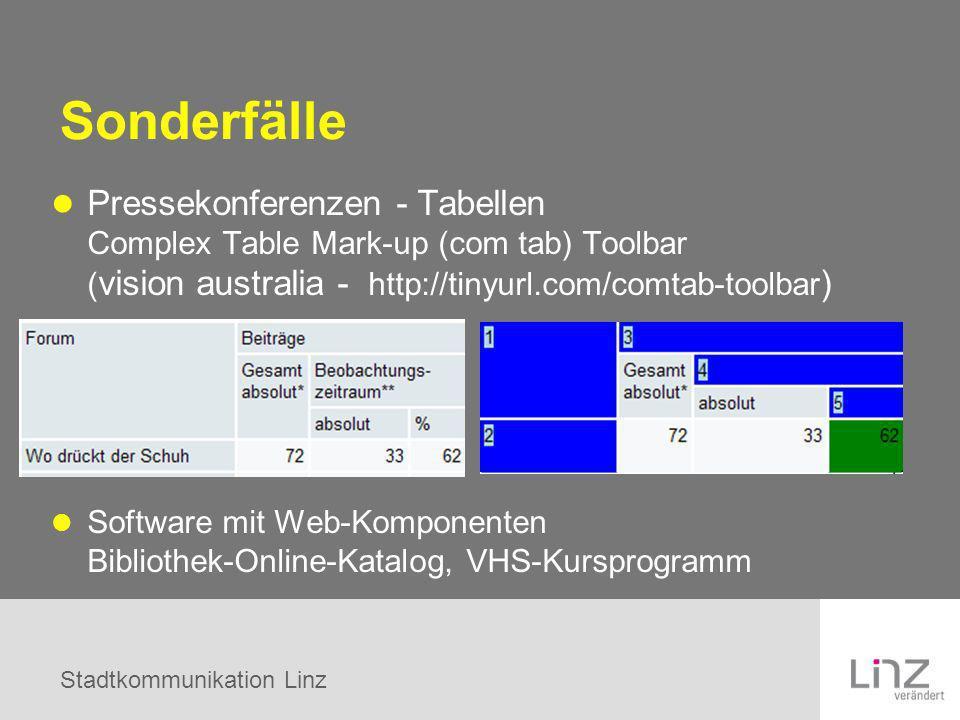 Sonderfälle Pressekonferenzen - Tabellen Complex Table Mark-up (com tab) Toolbar (vision australia - http://tinyurl.com/comtab-toolbar)
