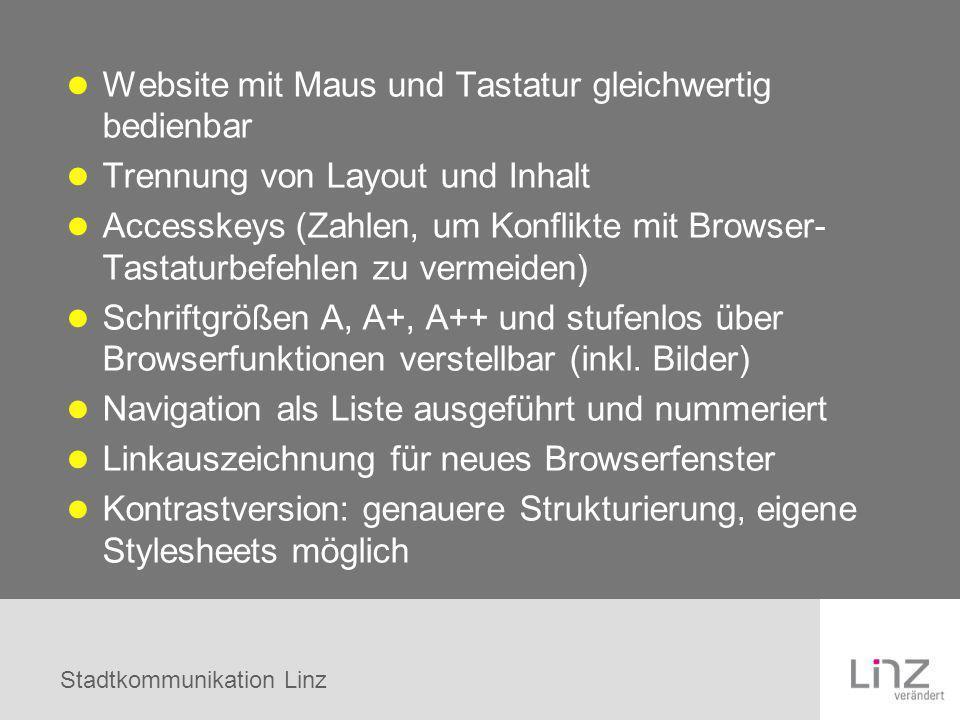 Website mit Maus und Tastatur gleichwertig bedienbar