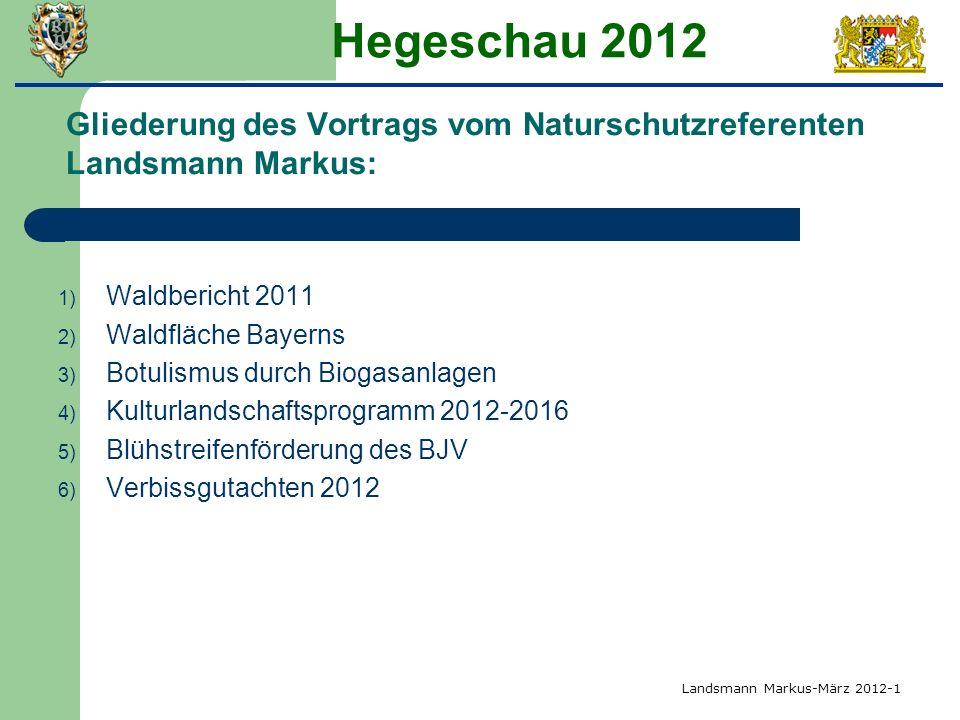 Hegeschau 2012 Gliederung des Vortrags vom Naturschutzreferenten Landsmann Markus: Waldbericht 2011.